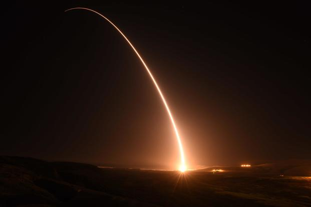 FILE PHOTO -- An unarmed U.S. Air Force Minuteman III intercontinental ballistic missile launches during an operational test at 1:23 a.m. Pacific Daylight Time Monday, May 14, 2018, at Vandenberg Air Force Base, Calif. (U.S. Air ForceAirman Aubree Milks)
