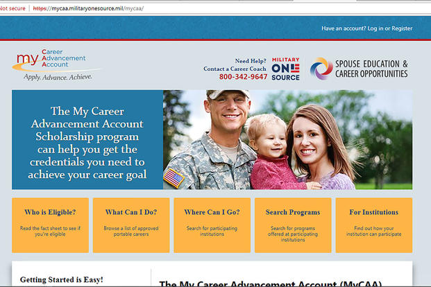 The Pentagon's MyCAA site relaunched Aug. 15, 2018. (Screen grab)