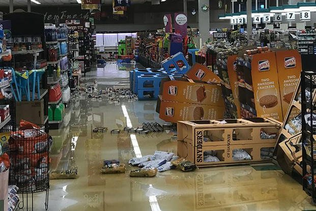 The Camp Lejeune, North Carolina, Commissary sustained extensive water damage to the roof and sales floor. (Marine Corps photo)