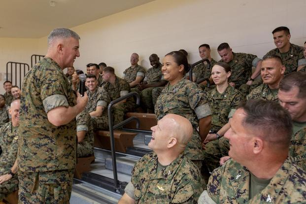 The Assistant Commandant of the Marine Corps, Gen. Glenn M. Walters, speaks to the Marines of U.S. Southern Command during a town hall in Southern Florida, June 7, 2018. (U.S. Marine Corps/Cpl. Alina Thackray)