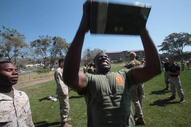Students from Class 4-12, Sergeant's Course, Staff Non-Commissioned Officer Academy Camp Pendleton, conduct a Combat Fitness Test during training aboard base, June 1, 2012. (U.S. Marine Corps/ Sgt. Christopher O'Quin)