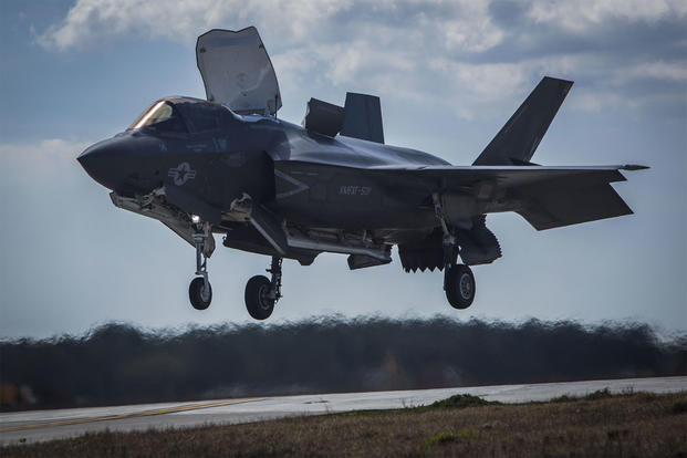 An F-35B Lightning II performs a vertical landing on board Marine Corps Air Station Beaufort, South Carolina. An F-35B crashed for the first time on Sept. 28. The pilot ejected and has been released from Beaufort Memorial Hospital. (US Marine Corps photo/Jonah Lovy)