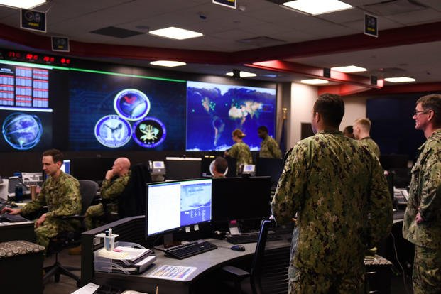 Sailors stand watch in the Fleet Operations Center at the headquarters of U.S. Fleet Cyber Command/U.S. 10th Fleet (FCC/C10F), Sept. 27, 2018. (U.S. Navy photo/Samuel Souvannason)