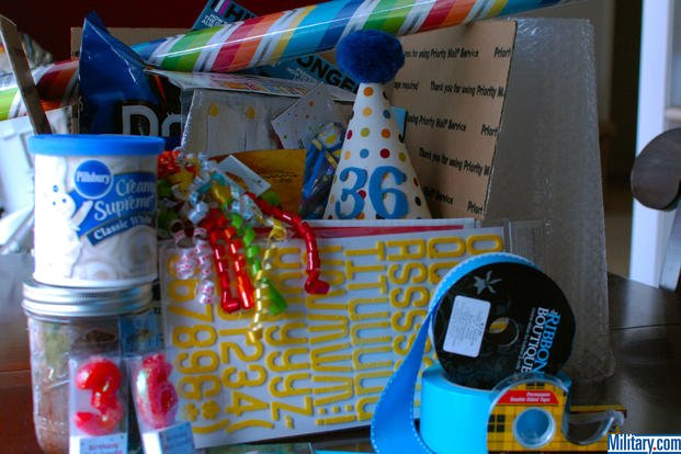 Gather your supplies for your military birthday care package. (Military.com)