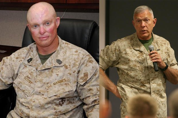 Marine Corps Master Sergeant Blaine Scott and General James Conway.