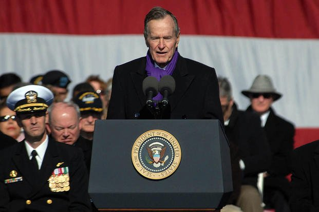 Former President George H.W. Bush delivers his remarks at the commissioning ceremony for the aircraft carrier USS George H.W. Bush at Naval Station Norfolk, Va., Jan. 10, 2009. (U.S. Navy photo)