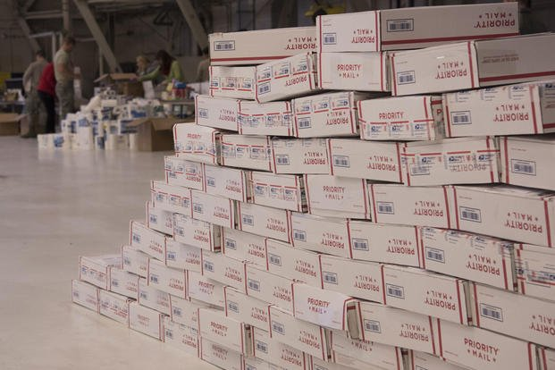 Care packages for deployed military members sit at Fairchild Air Force Base. (U.S. Air Force photo/Nick J. Daniello)