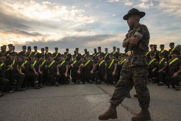 Recruits with 3rd Recruit Training Battalion prepare and practice for their initial drill evaluation on Peatross Parade Deck Sept. 14, 2018 on Marine Corps Recruit Depot Parris Island, S.C. (U.S. Marine Corps/Sgt. Dana Beesley)
