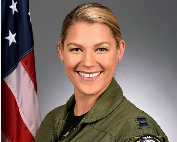 Capt. Captain Zoe M. Kotnik was the first female commander of the United States Air Force F-16 Viper Demonstration Team (U.S. Air Force)