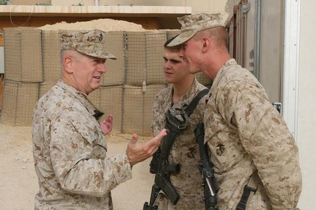 Then-Lt. Gen. Jim Mattis, head of Marine Central Command, visits with members of 1st Battalion, 2nd Marine Regiment, Regimental Combat Team 2, in Baghdadi, Iraq, on July 27, 2007. Marine Corps photo