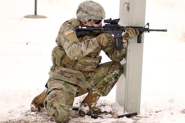 Soldiers from the Wyoming Army National Guard's Charlie Company, 1st Battalion, 297th Infantry Regiment (Forward) try out the new Army's new marksmanship qualification test at Camp Guernsey Joint Training Center in early March. (U.S. Army)