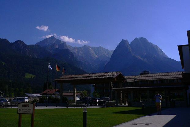 Mountain view from the Edelweiss Lodge and Resort's main entrance. Wikipedia photo