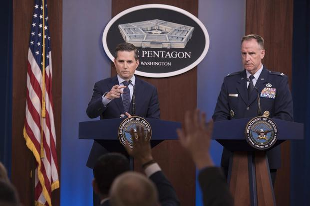 Assistant to the Secretary of Defense for Public Affairs Jonathan R. Hoffman and Joint Staff Spokesperson Air Force Col. Patrick S. Ryder hold a press briefing at the Pentagon, Washington, D.C., Sept. 19, 2019. (DoD photo by U.S. Navy Petty Officer 2nd Class James K. Lee)