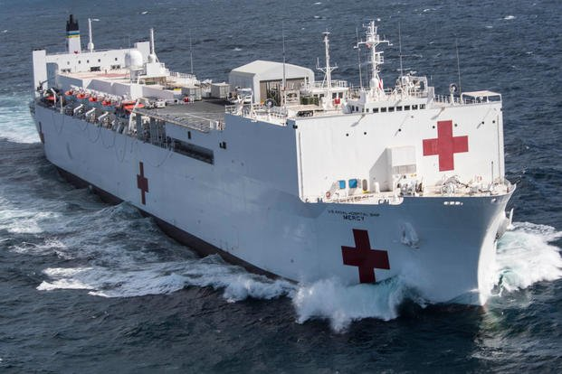 Military Sealift Command hospital ship USNS Mercy (T-AH 19) departs Naval Base San Diego