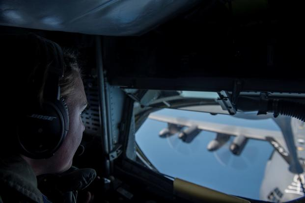 An Air Force boom operator refuels an MC-130J Commando II over the Black Sea, July 22, 2020.