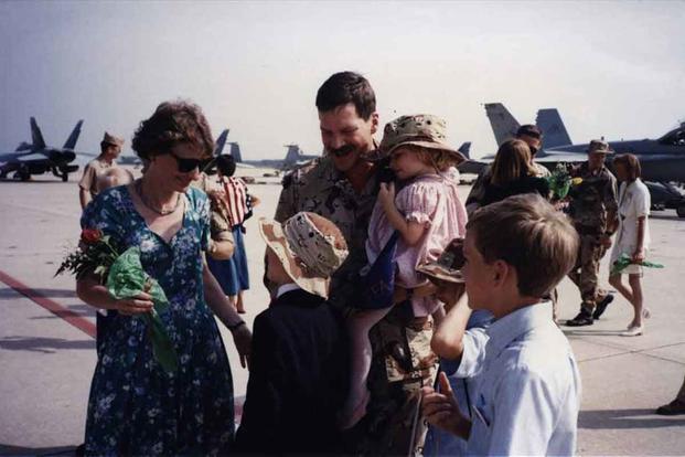 Fox returns to the USS Saratoga in Sunliner 401 Jan. 17, 1991.