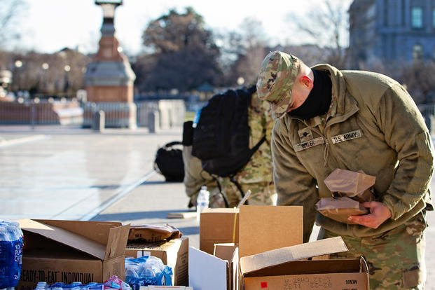 Delaware National Guard selects a meal, ready to eat, for breakfast in Washington D.C.