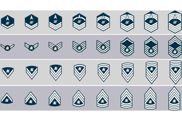 Mock-up of proposed Space Force enlisted rank insignias.