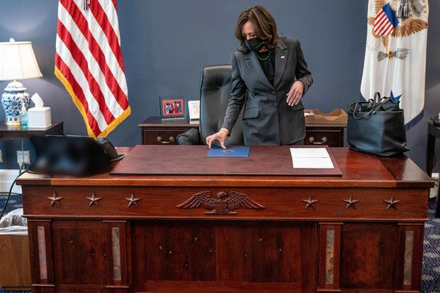 VP Kamala Harris inspects desk from USS Constitution