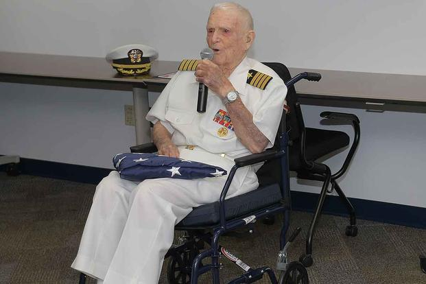 "105-year-old retired Capt. Richard Sloan ""Robbie"" Roberts."