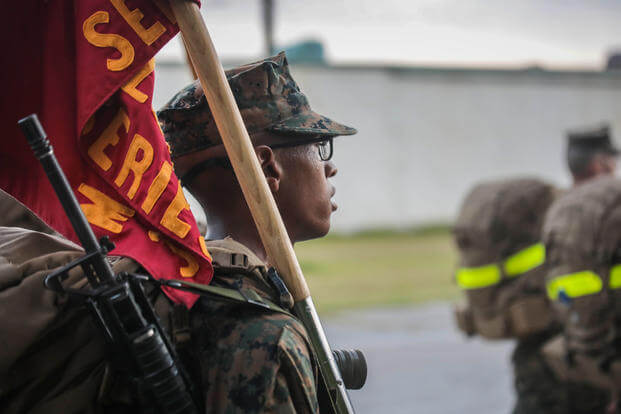 Recruits conduct a 5K Hike Parris Island
