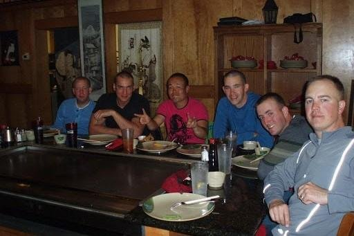 Austin Tice and his friends at a sushi restaurant in Georgia.