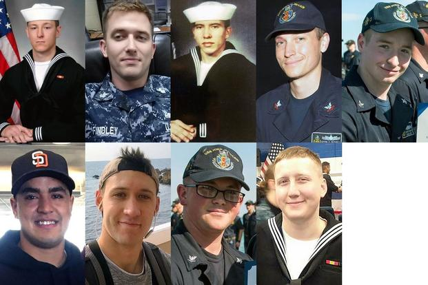 The Navy identified the missing USS McCain sailors as, top row from left, Electronics Technician 3rd Class Kenneth Aaron Smith, 22, from Cherry Hill, N.J.; Electronics Technician 1st Class Charles Nathan Findley, 31, from Amazonia, Mo.; Interior Communications Electrician 1st Class Abraham Lopez, 39, from El Paso, Texas; Electronics Technician 2nd Class Kevin Sayer Bushell, 26, from Gaithersburg, Md.; Electronics Technician 2nd Class Jacob Daniel Drake, 21, from Cable, Ohio; bottom row from left, Informatio