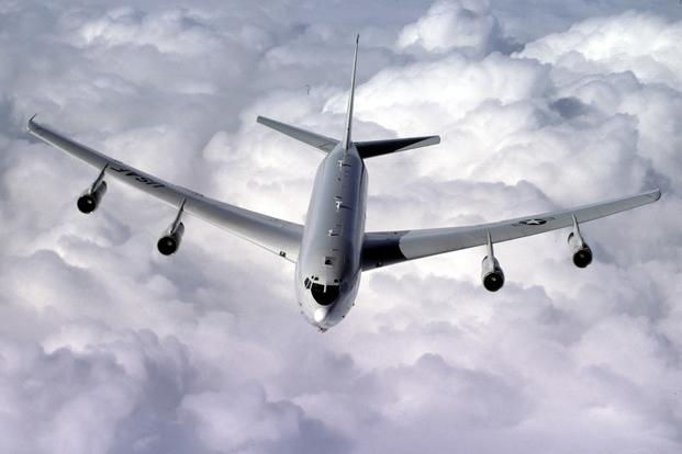 An E-8C Joint Surveillance Target Attack Radar System (Joint STARS) from the 93rd Air Control Wing flies a refueling mission over the skies of Georgia. (U.S. Air Force/Tech. Sgt. John Lasky)