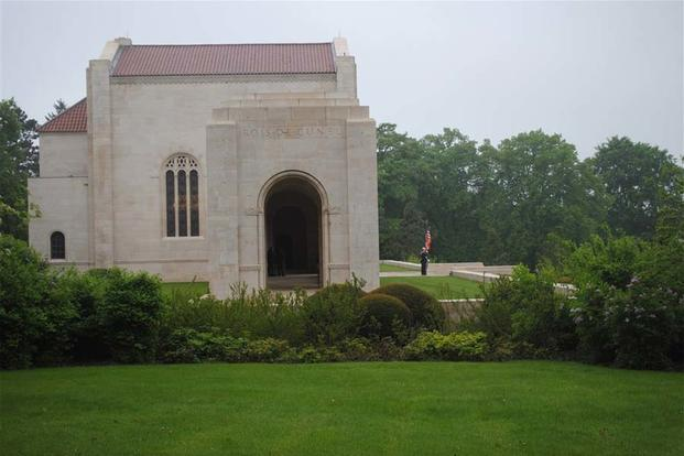 The US European Command joint color guard stands in front of the chapel at the Meuse-Argonne American Cemetery during the Memorial Day ceremony there, May 26, 2013. (Photo: eucom.mil)