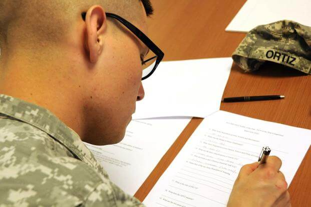 Soldier Taking Exam