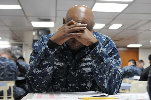 Sailor Taking Exam
