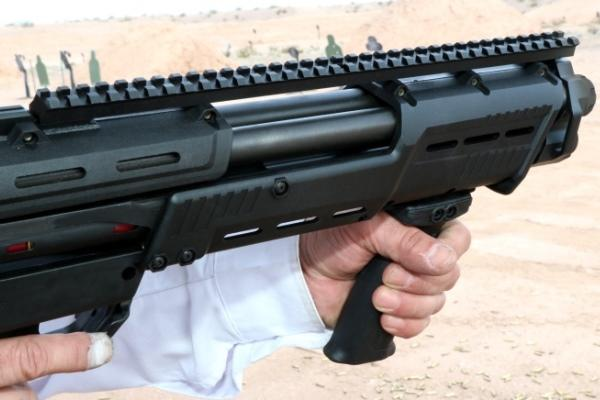Standard Manufacturing Co. displayed its new DP-12 double-barrel pump shotgun, Jan. 18, 2016, at a range outside Las Vegas as part of SHOT Show. (Photo by Matthew Cox/Military.com)