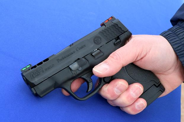 Smith & Wesson had its new Performance Center M&P Ported Shield pistol on display at SHOT Show 2016's range day. (Photo by Matthew Cox/Military.com)