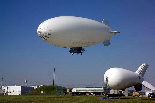 Two US Army JLENS blimps at Redstone Arsenal's test center in Alabama. (US Army photo)