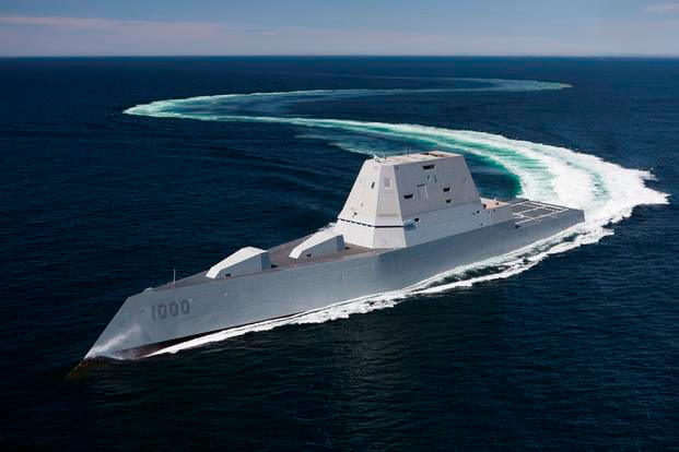 The future guided-missile destroyer USS Zumwalt (DDG 1000) transits the Atlantic Ocean on April 21, 2016, during acceptance trials with the Navy's Board of Inspection and Survey. (U.S. Navy photo)