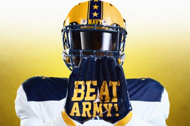 Navy's helmets feature 14 stars down the middle to signify the 14 straight wins Navy has accumulated over Army. (Photo courtesy Under Armour)