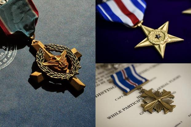 Clockwise from left: the Air Force Cross, the service's second-highest valor medal, the Silver Star and the Distinguished Flying Cross. (U.S. Air Force photos)