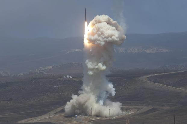 The Missile Defense Agency's Flight Test 06b Ground-Based Interceptor launches from Vandenberg Air Force Base, Calif., on June 22, 2014. Photo courtesy of Missile Defense Agency