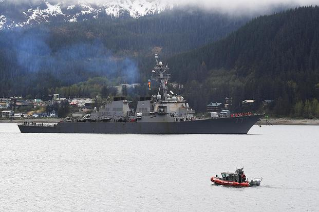 The guided-missile destroyer USS O'Kane arrives in Juneau, Alaska, for a scheduled port visit on May 13, 2017. Mass Communication Specialist 2nd Class Alex Van'tLeven/Navy