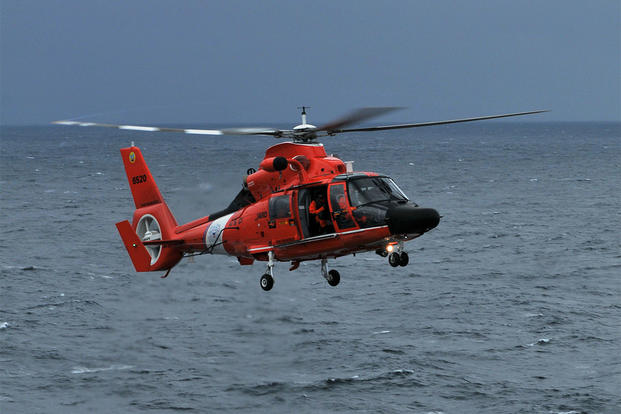 coast guard helicopter makes emergency landing during