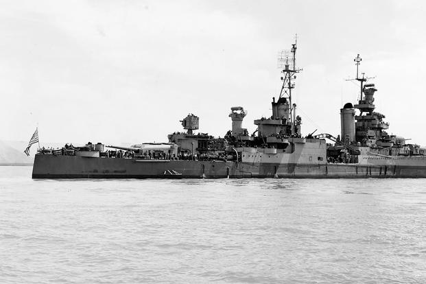 The USS Indianapolis (CA-35) off the Mare Island Navy Yard, California, 10 July 1945, after her final overhaul. (Photo: National Archives)
