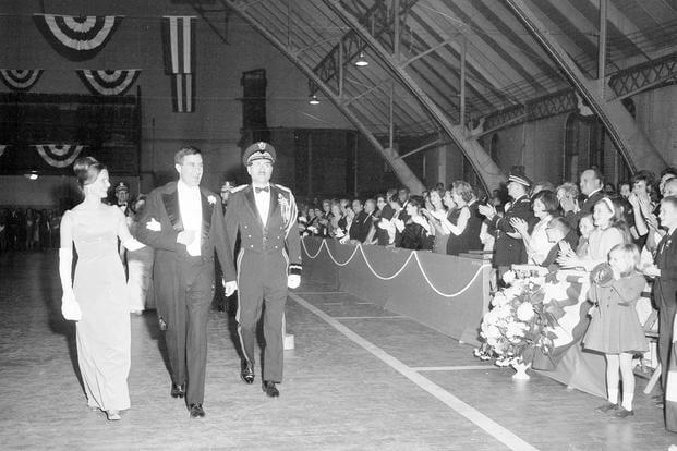 Inaugural of Governor John Chafee, with Virginia Coates Chafee and Adjutant General Leonard P. Holland, January 1965. (Photo: Rhode Island State Archives)