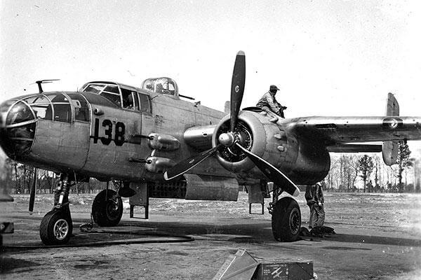 The 477th Medium Bombardment Group trained to fly B-25 Mitchell bombers, but the war ended before they saw action. (U.S. Air Force photo)