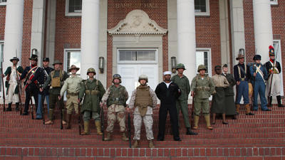 Marines featuring historical uniforms, group shot.