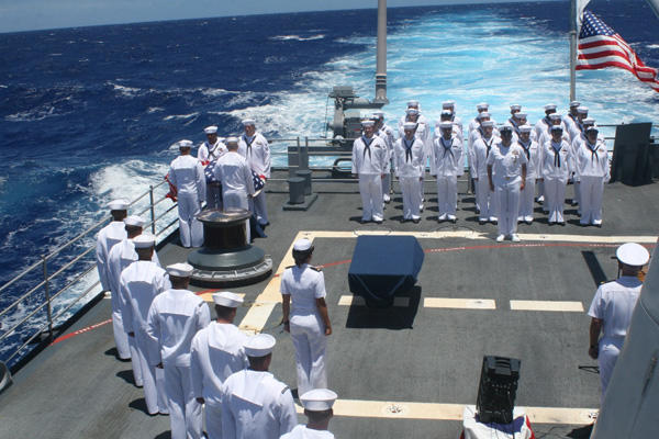 Navy burial at sea.