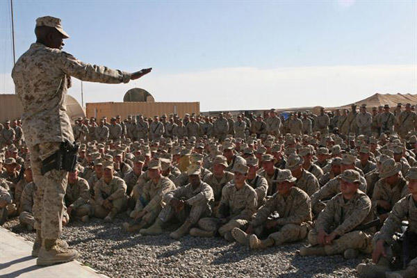 Sgt. Maj. Carlton W. Kent, sergeant major of the Marine Corps, visits troops in Afghanistan.