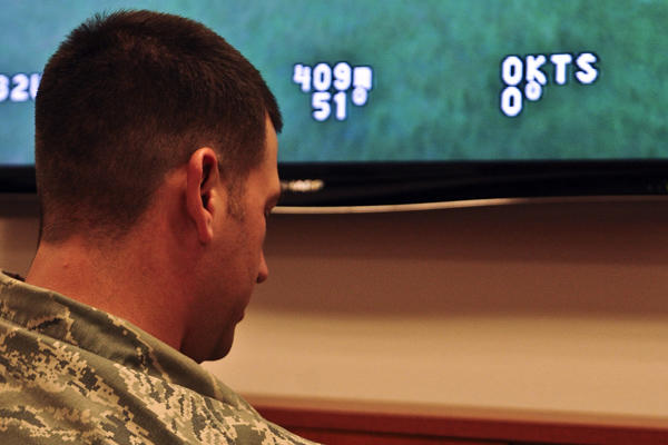 Senior Airman Goffeney, training on UAV simulator.