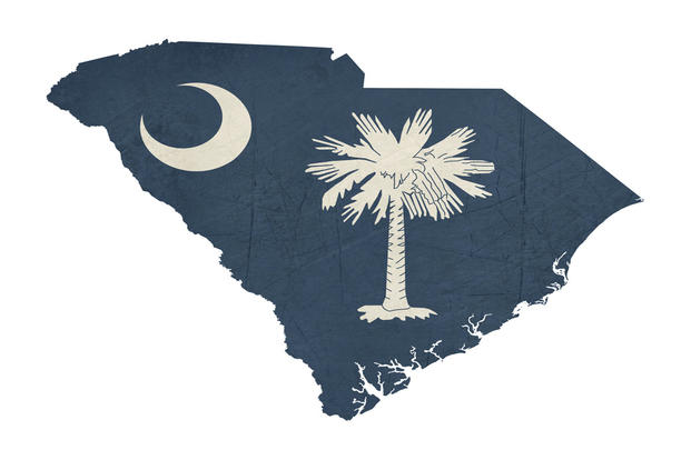 South Carolina Map and Flag