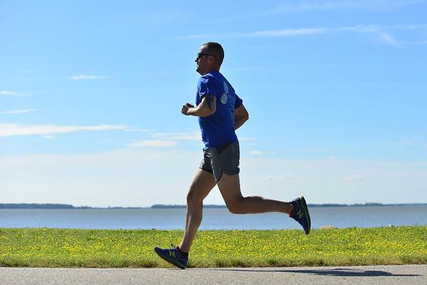 U.S. Army Staff Sgt. Jeffery Lewis runs at Fort Eustis, Va., May 12, 2015. (U.S. Air Force photo by Staff Sgt. Natasha Stannard)