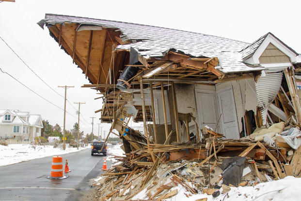 House damaged by Hurricane Sandy